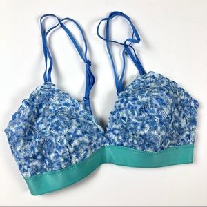 NWOT aerie bra bralette XS lace adjustable blue